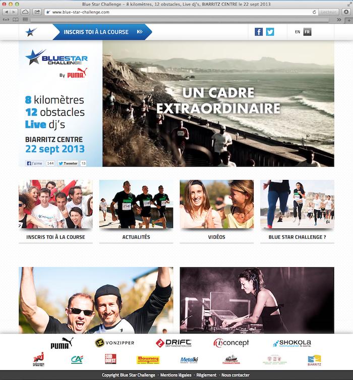 Page d'accueil du site Blue Star Challenge