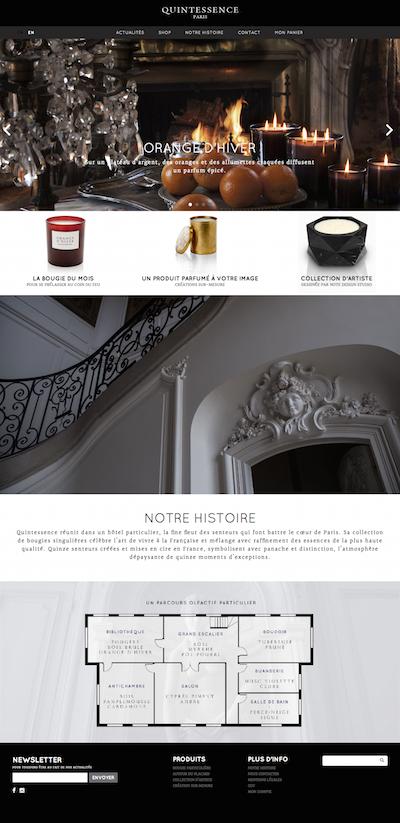 Page d'accueil du site Quintessence Paris