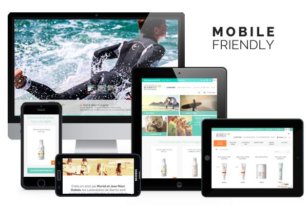 Site web et boutique en ligne responsive design des Laboratoires de Biarritz