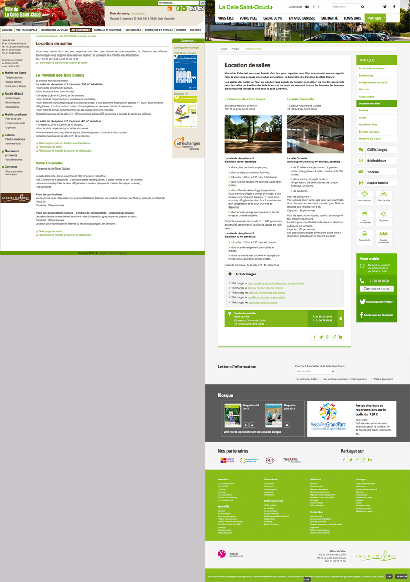Evolution dela page Location de Salles