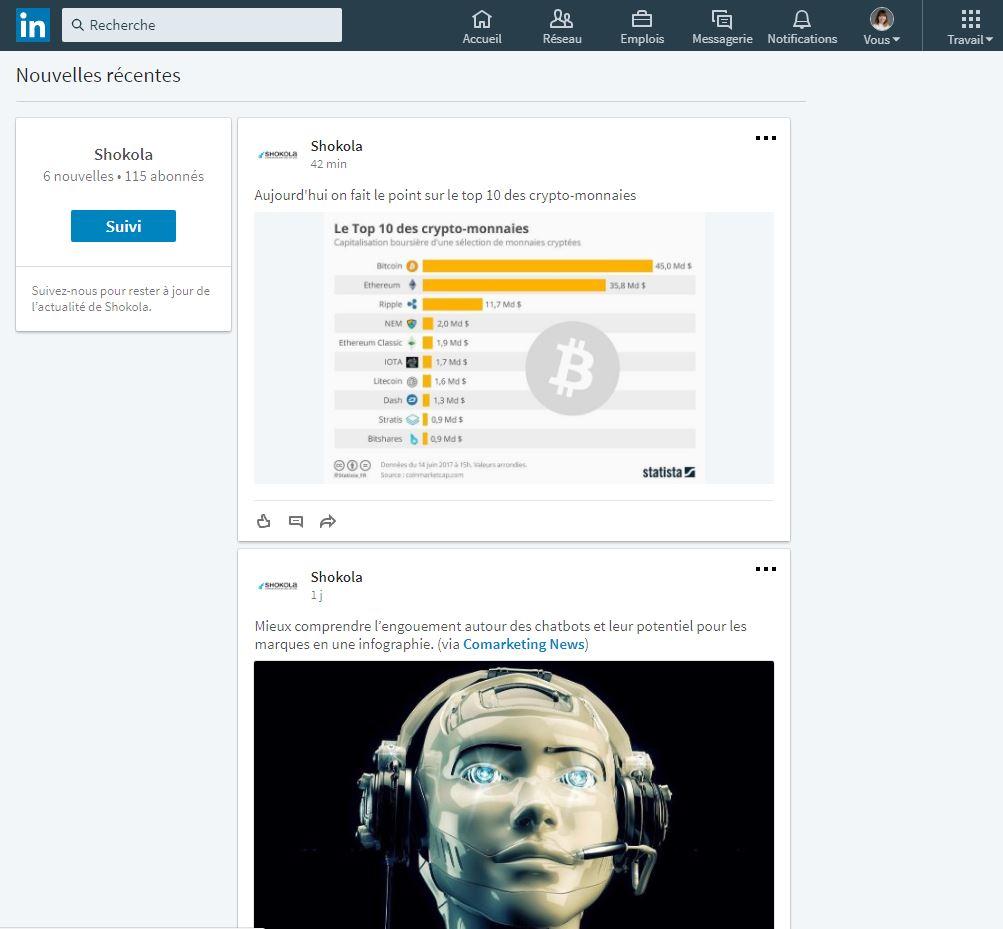 Page entreprise Linkedin nouvelles