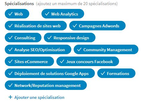 Page entreprise Linkedin spécialisations