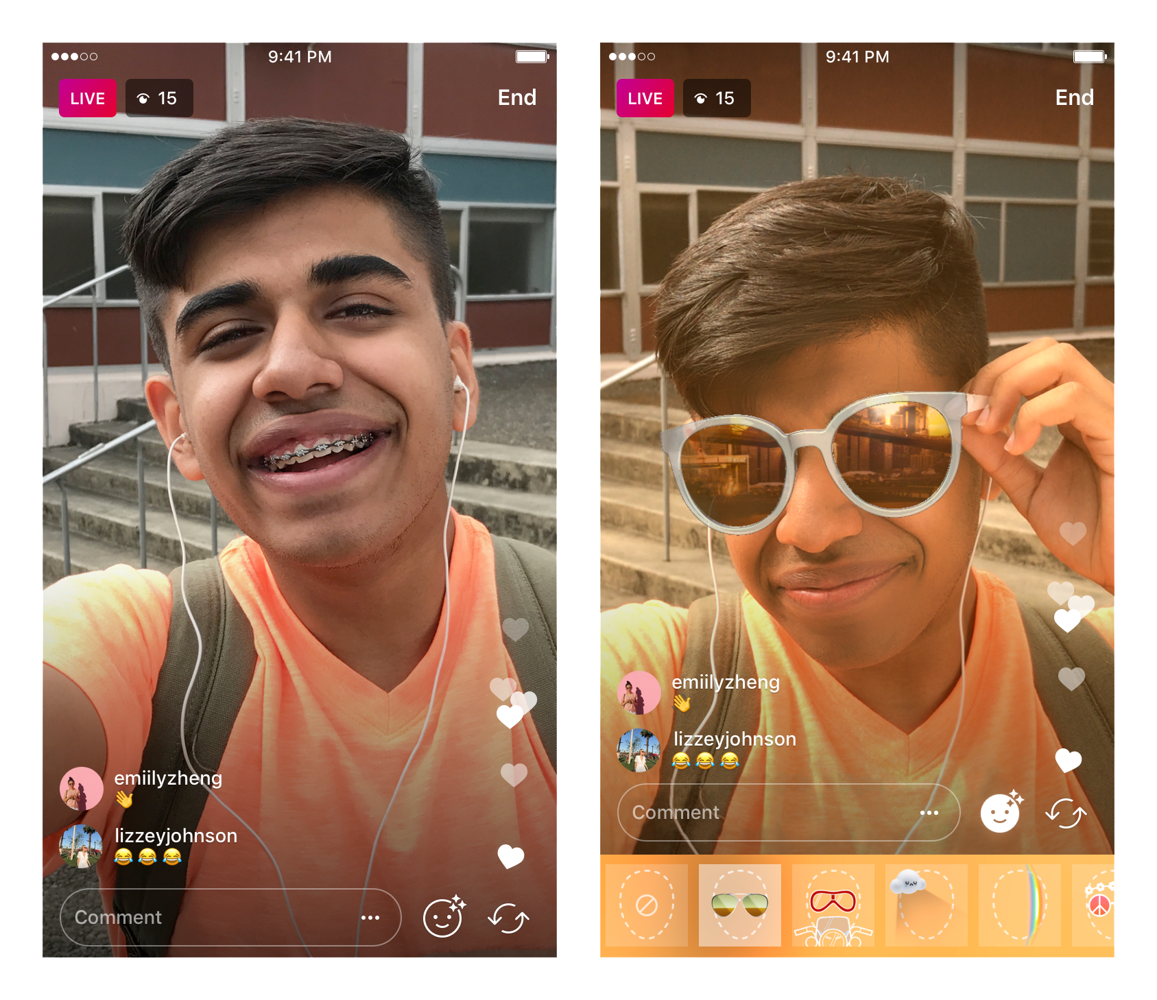 instagram filtre live