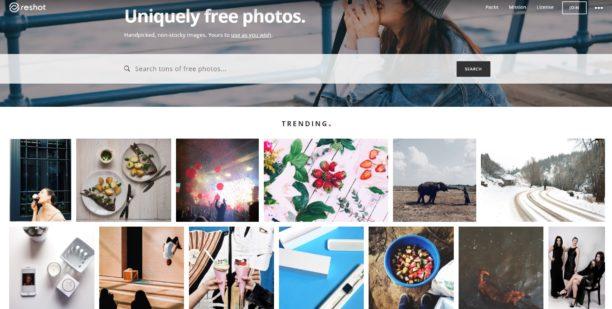 Reshot impression écran de la page d'accueil