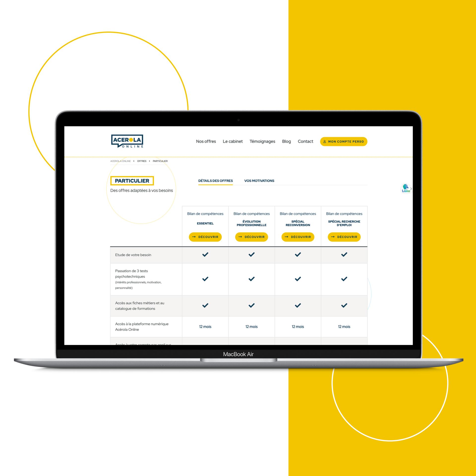 Site web Acerola Online offres particuliers